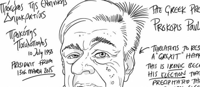 Cartoon of Greek President who apparently threatens to resign should Greece leave the Euro by Tim Wilson