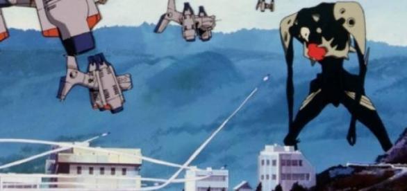 El tercer Angel Sachiel atacando Tokyo 3