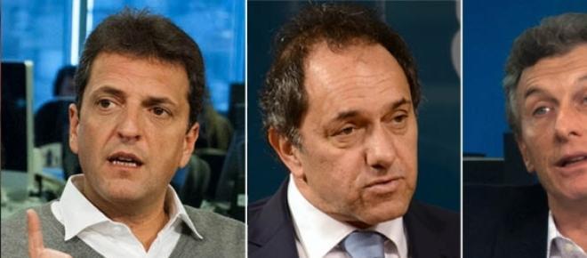 Massa, Scioli y Macri  en la última encuesta