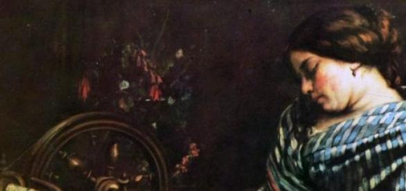 Mujer durmiendo, del artista Gustave Courbet