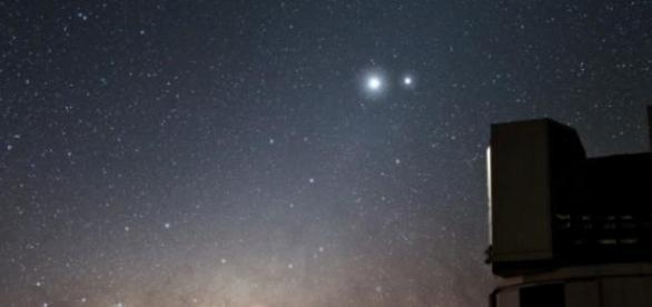 A proximidade dos dois planetas visível a olho nu