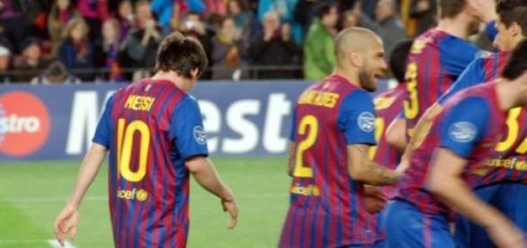 Jucătorii Barcelonei, după o obişnuită victorie