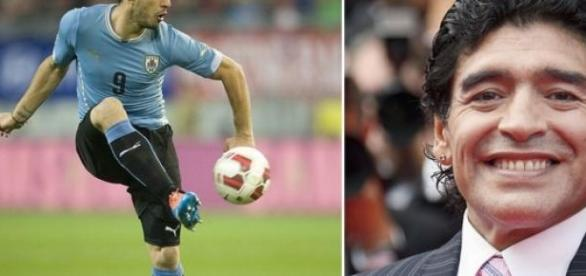 Diego Maradona y Luis Suárez
