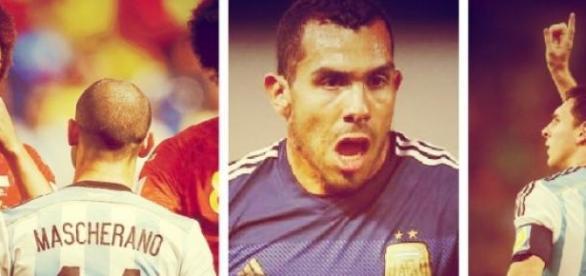 Masche, Tevez y Messi. Figuras de Argentina