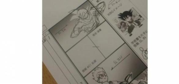 La hoja con los bocetos de Toei Animation