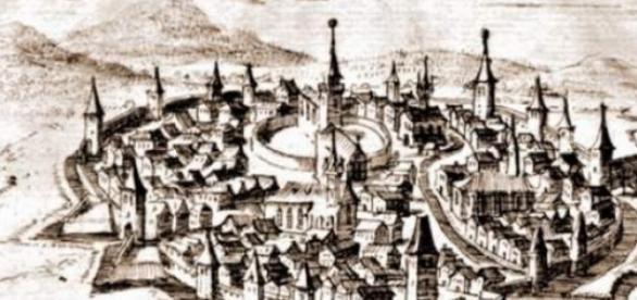 Gravură medievală reprezentând Cetatea Bistriţei