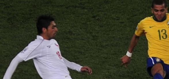 Dani Alves con la Selección Brasileña.