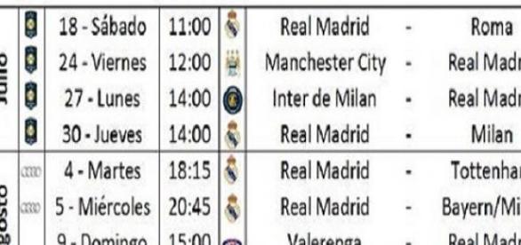 Horarios de la pretemporada del Real Madrid.