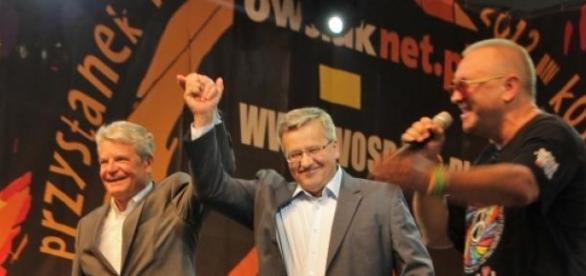 Jerzy Owsiak z prezydentem Komorowskim