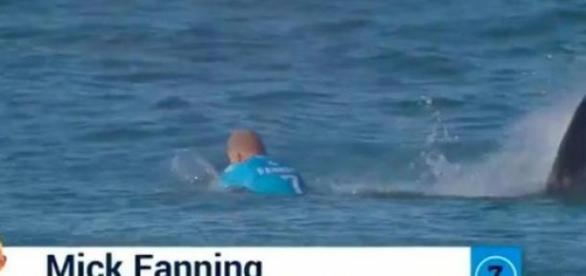 Mick Fanning não foi ferido no ataque de tubarão.