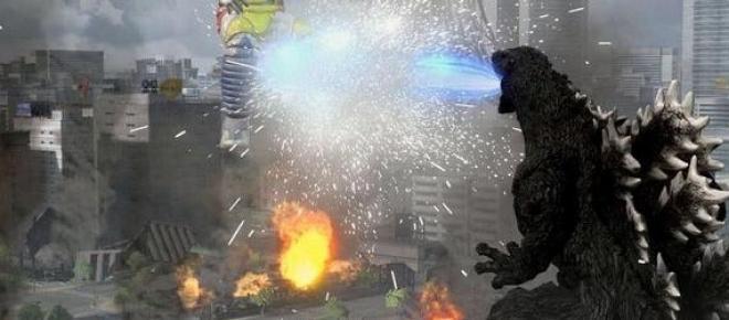 Godzilla destruyendo una ciudad