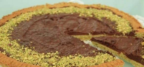 Crostata al cioccolato e pistacchio.