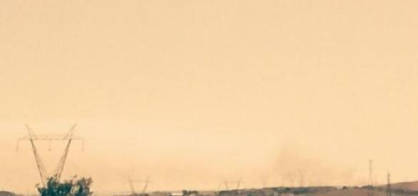 O intenso fumo era visivel ao longe.