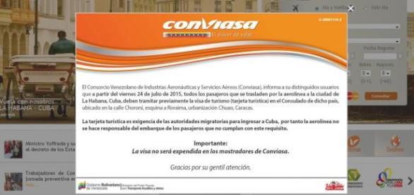 El anuncio apareció en la página web de CONVIASA