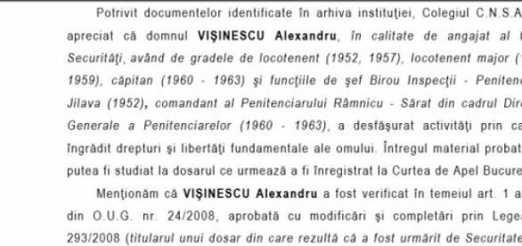 Concluziile CNSAS pentru Vişinescu