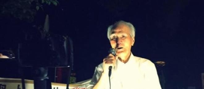 Former PM Murayama giving a speech last Friday.