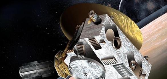 Ilustração da NASA de viagem da sonda a Plutão