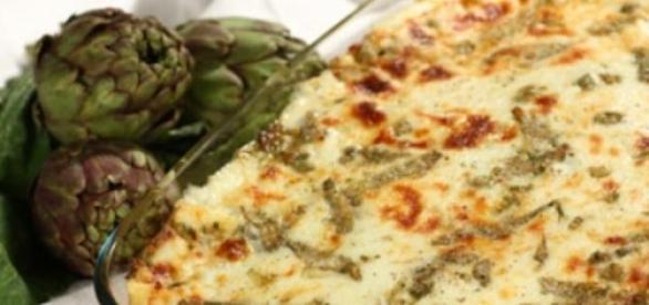 Le lasagne con carciofi ricotta e prosciutto cotto