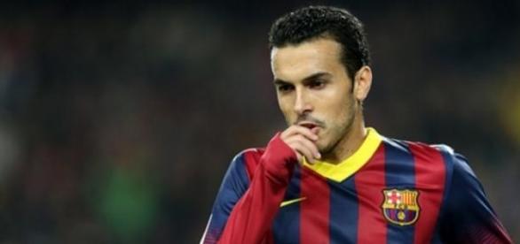 Pedro en un partido con el Barça