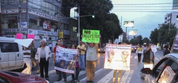 Protestas en contra de parquímetros