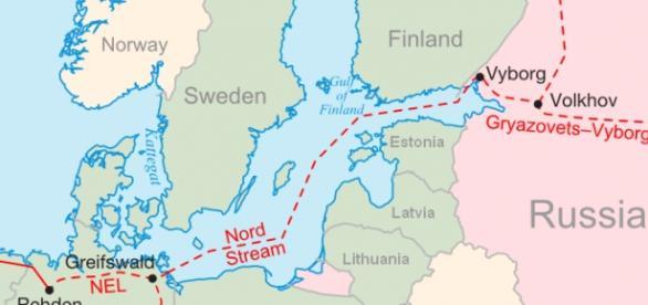 Przebieg gazociagu Nord Stream