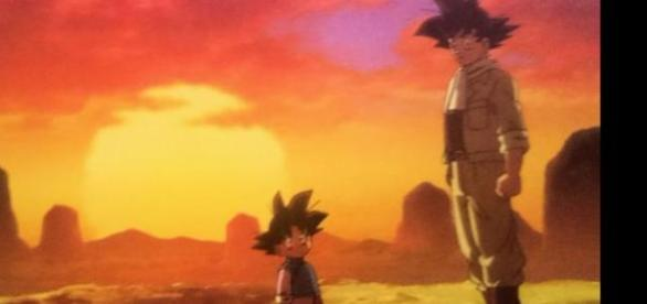 Goku y Goten miran a Mr Satan