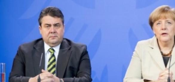 Sigmar Gabriel și Angela Merkel