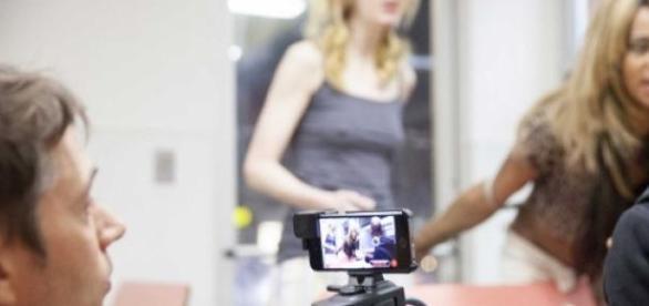 O diretor Sean Baker, durante as filmagens