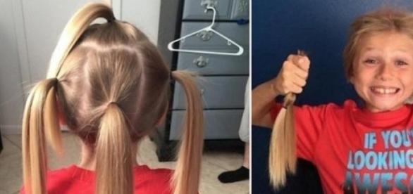 Imagem: Divulgação. Garoto mostra cabelo doado.
