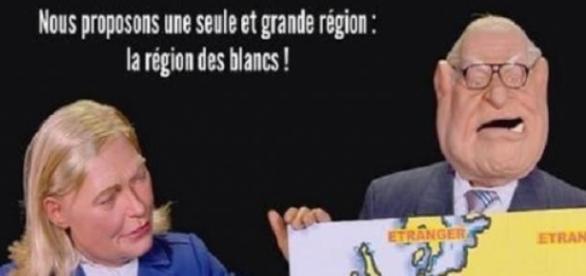 Le Pen padre e hija parodiados en Les Guignols.