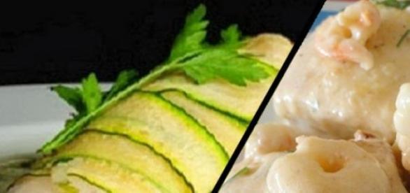 Merluza en salsa de gambas y Merluza con calabacín