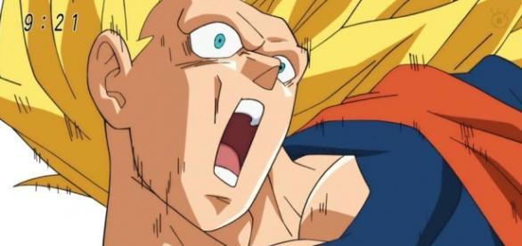 Goku ilustrado en una pobre calidad