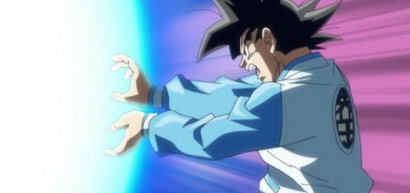 Goku lanzando el primer Kamehameha de la serie