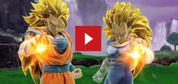 Goku y Vegeta atacando en el juego