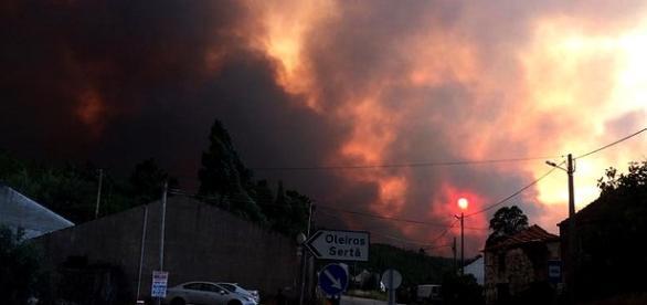Imagens do violento fogo recolhidas pela Centro TV