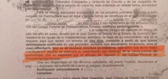 Exhorto oficial en el cual se les pide ir a Iguala
