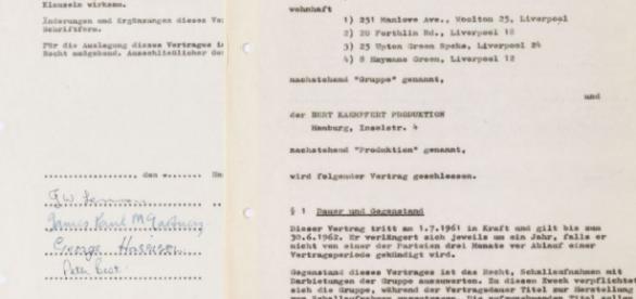 Primeiro contrato assinado pelos Beatles