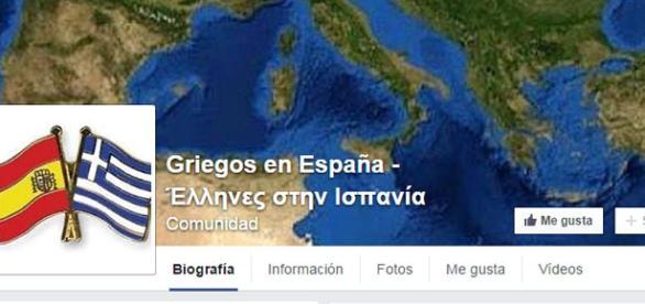 Portada de la página de griegos en España.