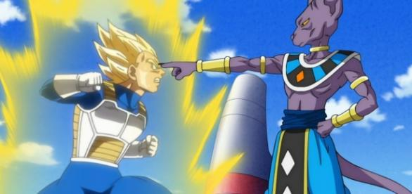 Vegeta enfrentando al Dios destructor Bills