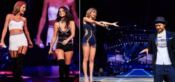 Taylor Swift com Selena Gomez e Justin Timberlake