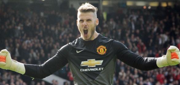 Celebración de un gol con el Manchester United