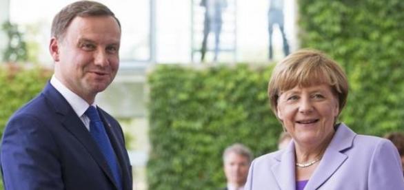 Andrzej Duda z kanclerz Angelą Merkel.