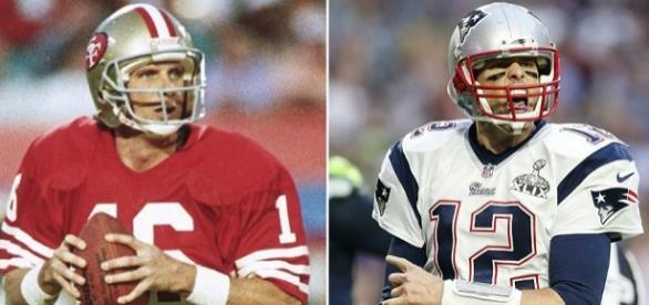 Joe Montana (16) and Tom Brady (12) side by side