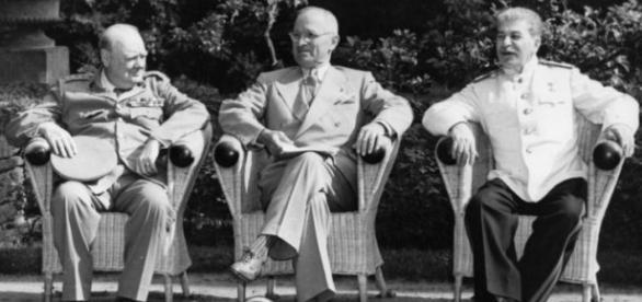 Truman e Estaline na Conferência de Potsdam.