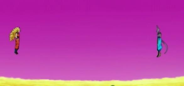 Goku peleando contra Bills en el aire