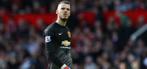 David De Gea disputando un partido con el M.United
