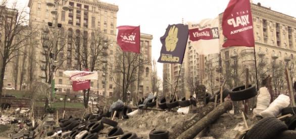 granada explotó frente al Parlamento de Ucrania