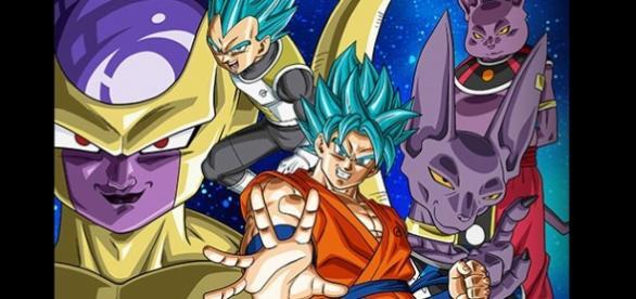 Freezer, Bills, Shampa, Vegeta y Goku