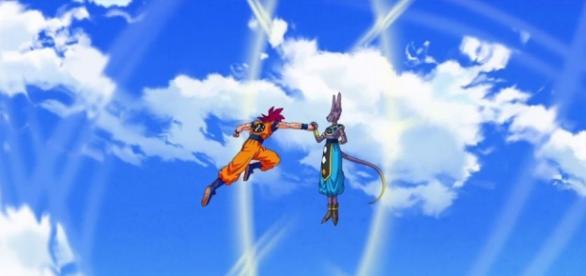Goku luchando contra Bills en el cielo