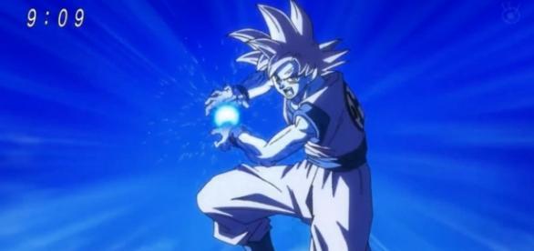 Goku preparando el Kamehameha contra Bills